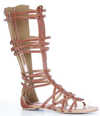 shoefashionista damen hoch kalb knie hohe bein gladiator flache sandalen damen braun. Black Bedroom Furniture Sets. Home Design Ideas