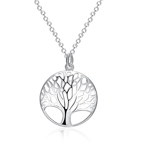 Tree life pendant amazon bellamira 925 silver plated tree of life necklace 30mm aloadofball Image collections