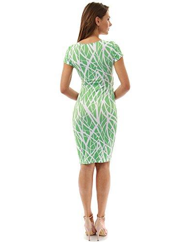 PattyBoutik femmes mama v cou robe imprimée de maternité modèle 12: vert et blanc