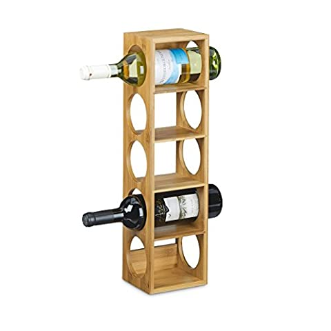 Relaxdays Bamboo Wine Rack Size 53 x 14 x 12 cm, Bottle Holder with 5 Levels For Wine Bottles, Modern Bottle Storage Wine Holder For Horizontal Hold, Stackable, Natural