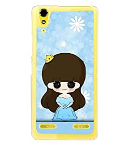 Fuson Premium Blue Little Girl Metal Printed with Hard Plastic Back Case Cover for Lenovo A6000 Plus