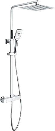 GRIFEMA G7001, douchesysteem met thermostaat, doucheslang, handdouche, douchehouder, douchestang, hoekig regendouche 250CM,
