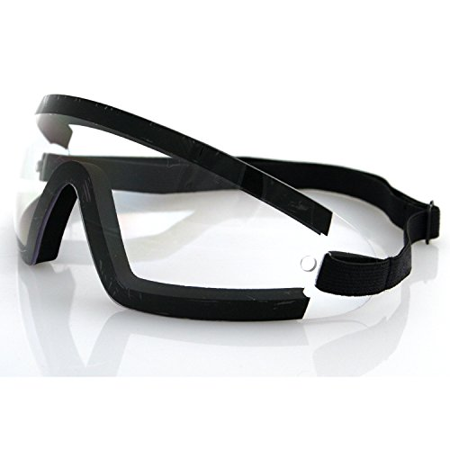 Bobster BW201C Wrap Around Goggles,Black Frame/Clear Lens,one size