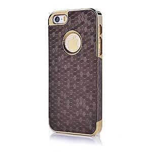 Housse etui coque pochette polycarbonat pour iPhone 5S iPhone 5 couleur or et brun