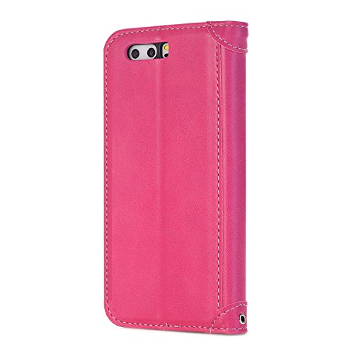 Huawei P10Lite Tasche, PU Leder Wallet Magnetic Flip-Telefon Fall Stand Cover für Huawei P10Lite Rose&Green rose