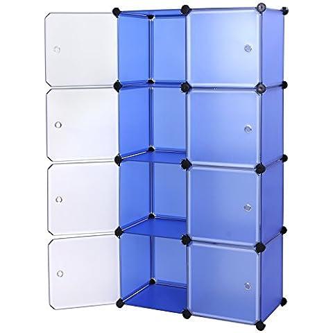 Songmics Estantería por módulos, con puertas Estantería de composición de variedad, color azul LPC24Q