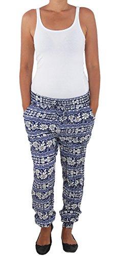 Damen Baggy Sommerhose Pumphose Haremshose Aladin Pluder Boyfriend Strandhose 12 Blau