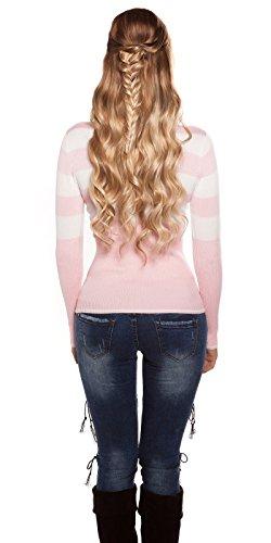 KouCla Pull tricoté moulant pour femme Motif à rayures Taille: 34,36,38 Rose - Rose
