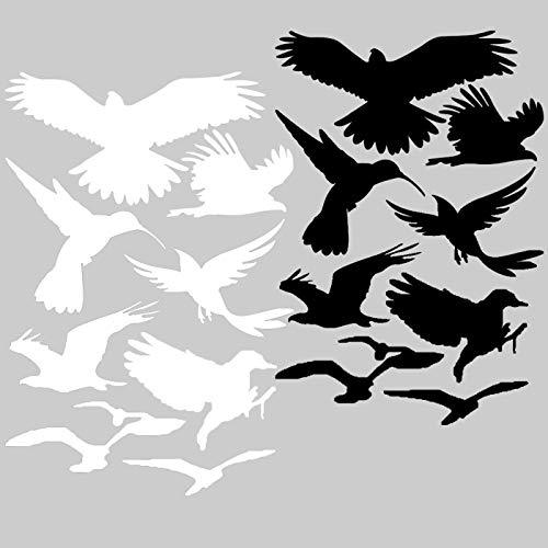 Autocollants Oiseaux, 18 oiseaux décoratif pour fenêtre, Jardins d'Hiver, protection Maisons pour oiseau d'alerte protection, oiseau de Silhouettes, protection contre la frappe, fenêtre en verre