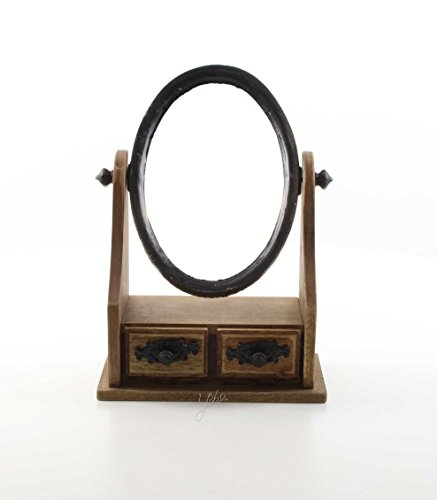 Schminkspiegel Tisch Spiegel Antik-Look Miniatur 20x27,8 cm