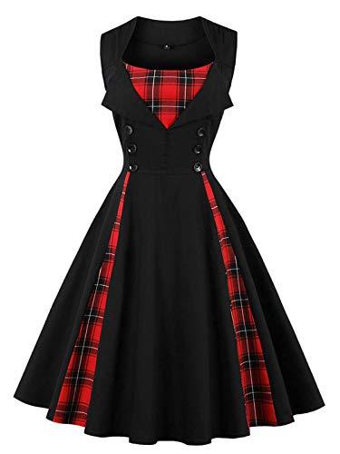 Vintage 50er V-Ausschnitt Ärmellos Plaid Button Down Knopf Kleid A-Linie Swing Plissee Retro...