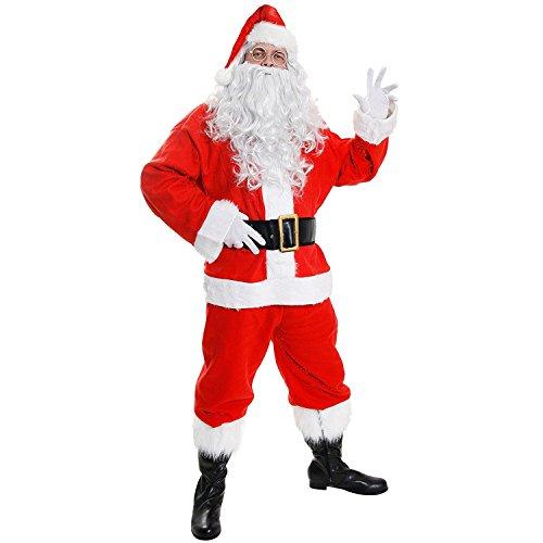 Costume da Babbo Natale con 7pezzi, giacca, pantaloni cappello, parrucca, barba, cintura e copristivali, costume completo
