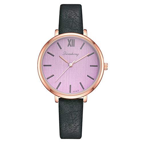 (Gloaming Abstand Retro Frauen Uhren, Casual Damen Lederband Quarzuhr römischen Ziffer Armbanduhr Multicolor)