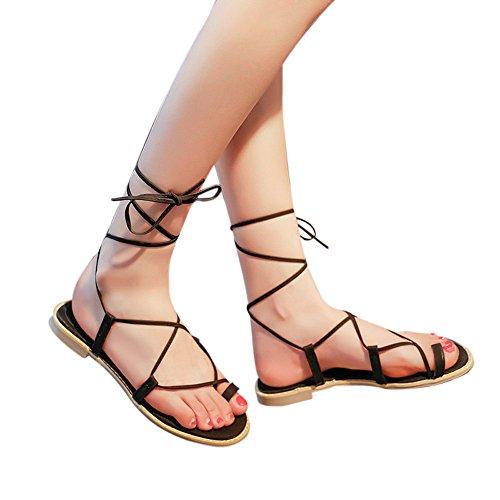 NDGDA Damen-Sandalen, mit Kreuzriemen, flache Flip-Flops