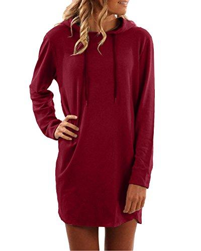 SUNNYME Damen Hoodies Pullover Langarm Jacke Top Sweatshirt Laple Knopf Jumper Weinrot XL
