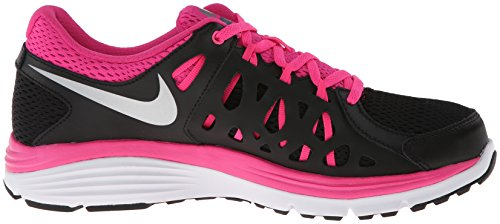 Nike Wmns Dual Fusion Run 2, Chaussures de Running Entrainement Femme Noir - Negro (Blk / Mtllc Slvr-Armry Slt-Pnk F)