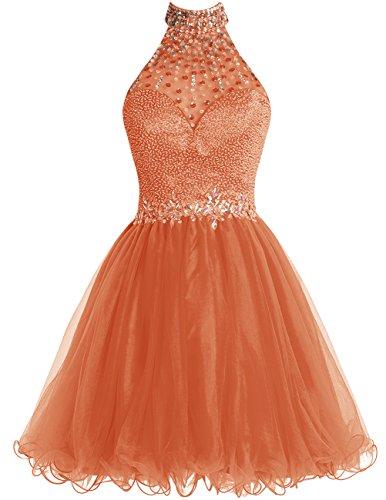 Dresstells Robe de soirée de cocktail Robe de bal emperlée col montant dos nu Orange