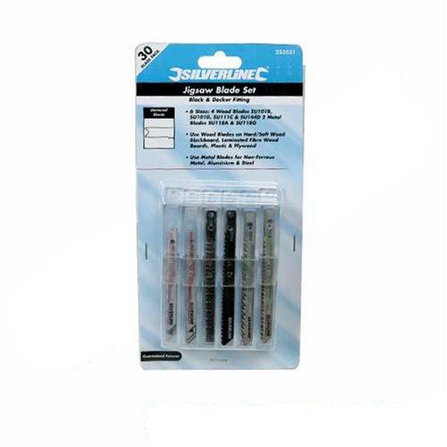 Silverline 223531 - Juego de hojas universales para sierra de calar, 30 pzas