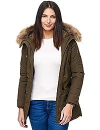 Elara Damen Winterparka   Jacke mit Echt Pelz Echt Fell Kapuze   Designer  Damenjacke   Gefütterte Outdoor Mantel  … f09d8d1ee2