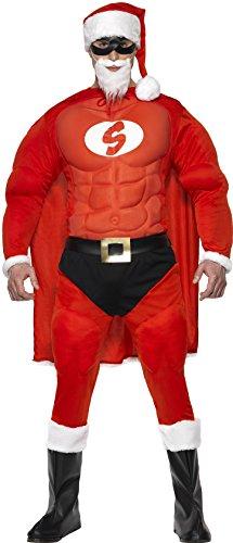 Smiffys, Herren Superfitter Weihnachtsmann Kostüm, Mütze, Augenmaske, Umhang, Muskel-Oberteil, Gürtel, Hose mit aufgenähtem Slip und Überschuhe, Größe: L, (Dress Fancy Kostüme Ho)