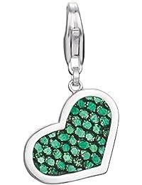 Esprit Damen-Charm 925 Sterling Silber rhodiniert Stoff Glam Heart Green S.ESCH91255A000