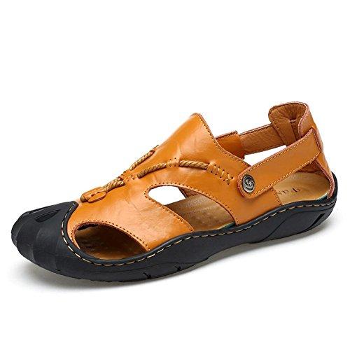 Männer Leder Sport Sandalen Mode Vorderseite Paket Wasser Schuhe Sommer Soft Cowhide Beach Schuhe , Brown , 43