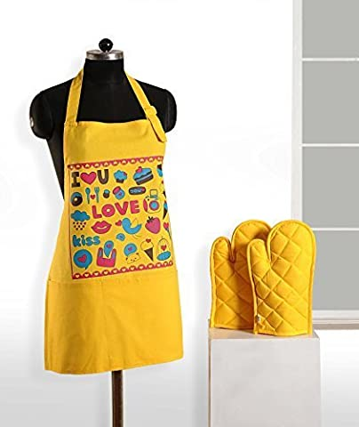 Handgemachte Grafik-Display Print Schürze & Ofen Mitt Set - 100 % Baumwolle - Küche-Geschenke Für Frauen, Apg03-G013