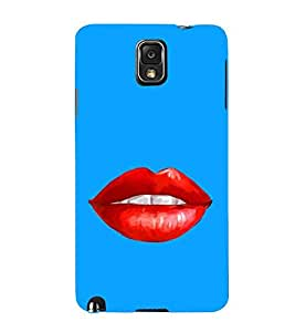 For Samsung Galaxy Note 3 :: Samsung Galaxy Note III :: Samsung Galaxy Note 3 N9002 :: Samsung Galaxy Note N9000 N9005 beautiful lip ( beautiful lip, lip, blue background, red lip ) Printed Designer Back Case Cover By FashionCops