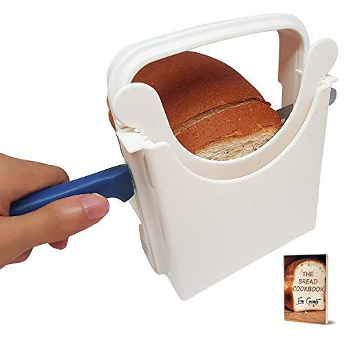 neider, Anleitung für selbstgemachtes Brot, mit Mini-Rezept-E-Book, Brotschneider, zusammenklappbar, verstellbar und anpassbar auf 5 Stärken - Bagel/Sandwich/Toastschneider ()