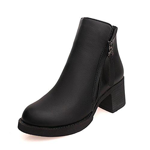 WIKAI Donna stivali Comfort PU Primavera autunno casual Zipper tacco basso nero rubino sotto 1a,Black,US6 / EU36 / UK4 / CN36 Black