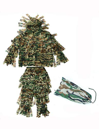 Ghillie Anzug Erwachsene Outdoor Camouflage 3D Dschungel Desert Leaf Camouflage Top Jagdanzug Armee Airsoft Schießen Halloween (Farbe : Jungle Camouflage)
