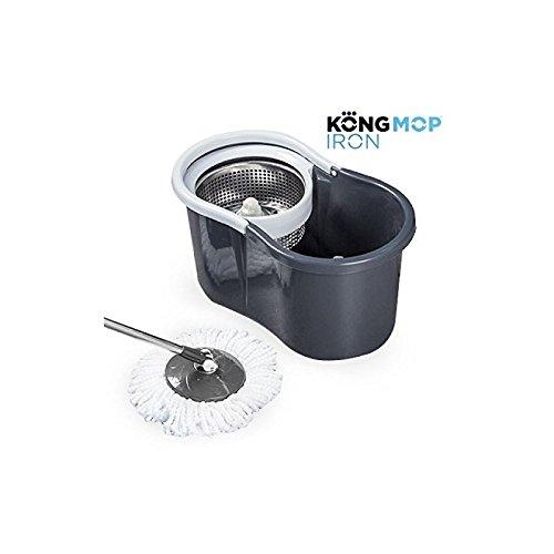 Omnidomo Kong Mop Iron Fregona Giratoria con Cubo, Recambio de Microfibra, Plástico, Gris, 46x25x23 cm