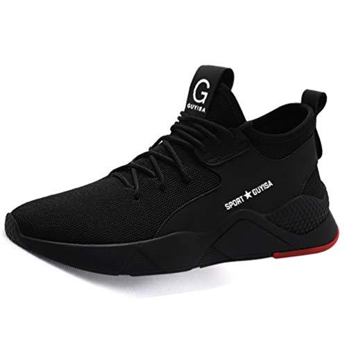 AONEGOLD® Unisex Zapatillas de Seguridad con Puntera de Acero S3 Hombre Mujer Zapatos de Trabajo Transpirables Antideslizante Ligeras Comodas Zapatillas de Senderismo 36-48 Negro 44