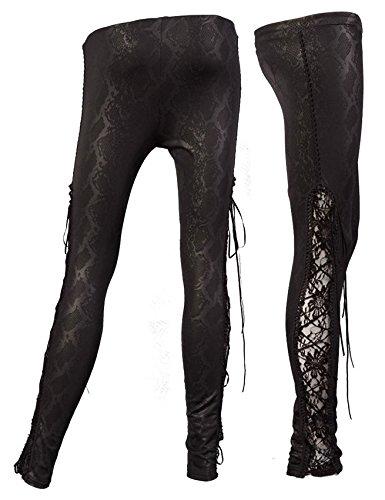 Leggings-colore-nero-motivo-con-apertura-laterale-e-a-pizzo-con-lacci