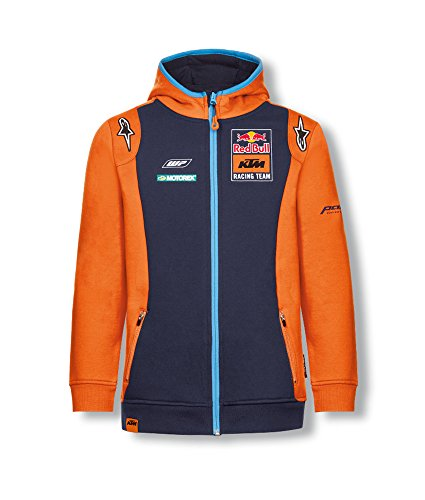 Red Bull Racing Team KTM Line Alpinestars Veste Sweat à Capuche pour Enfant Kids Sweat à capuche zippé MotoGP 13-14 ans Bleu marine/orange