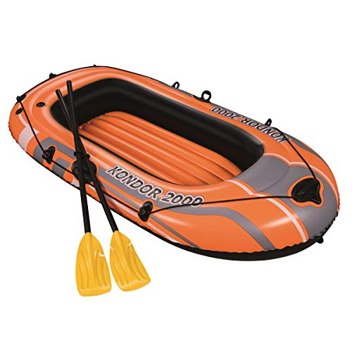 2000 Boot (Aufblasbares Boot Bestway Kondor 2000, 2 Sitzer, 188 x 98 cm, max. Gewicht: 120 kg, Komplettpaket mit Paddel + Pumpe)