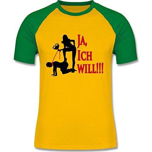 JGA Junggesellenabschied - Ja ich will - zweifarbiges Baseballshirt für Männer Gelb/Grün