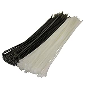 50 X Mixed Black White Cable Ties 300Mm X 4.8Mm Zip Tie Bases