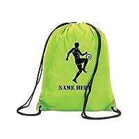 Personalised Football Drawstring PE Bag Kit Sack Sports Kids Girl Boy Team Gift (Lime)