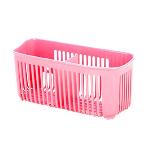 TOPBATHY Saugnapf Ablaufkorb Sieb Bad Schwamm Halter Wäscher Seifenbürsten Lagerung für Küche Home (Rot) -