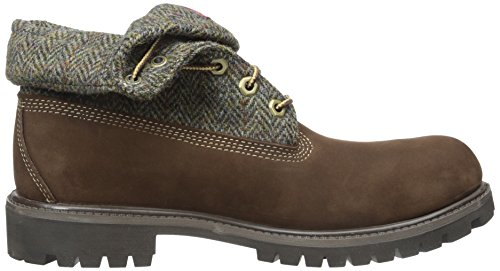 Timberland Mens Icon Fabric Leather Boots Dark Brown