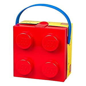 Lego Box with Blue Handle Bright Red