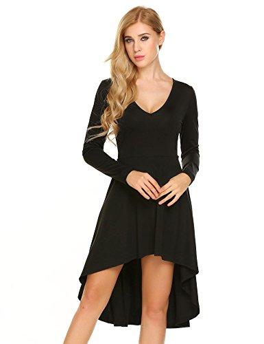 Zeela Damen Rückenfrei Vokuhila Kleid V Ausschnitt Herbst Winter Langarm Asymmetrisch Minikleid Freizeitkleid Jerseykleid (Lässige Sandale Robuste)