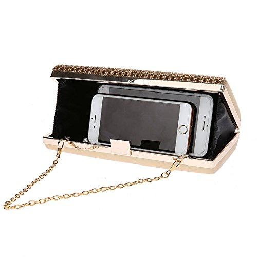 KAXIDY Clutch Handschlaufe Unterarmtasche Abendtasche Umhängetasche Gold