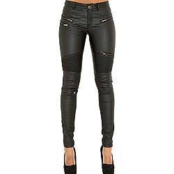 pies de pantalones de cremallera mujeres de cuero tela vaquera costura multi-cremallera damas pantalones de cuero los pantalones, negro, 36 S