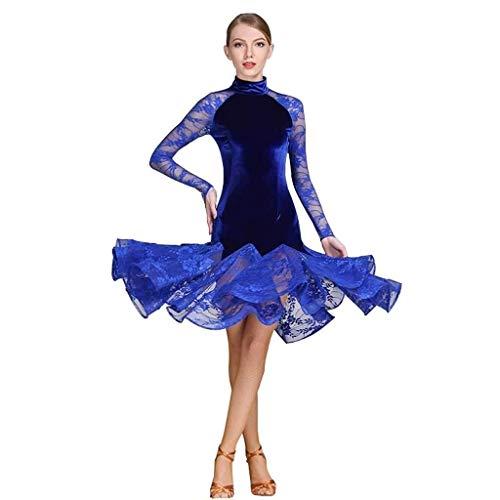 Générique Robe de Danse Latine Adulte, Jupe de Danse,Test De Danse Latine for Adultes Test d'art Haut De Gamme Robe De Danse Latine Robe De Danse De Salon (Color : Blue, Size : XXL)