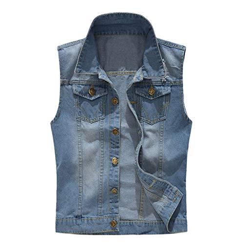 TAMALLU Herren T-Shirt Cool Modische Denim Weste Casual Männer Tee Cowboy Ärmellos Jacket Bluse(Blau,M(3XL)) -