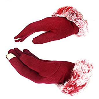 AlexVyan Women Wrist Winter Soft and warm Covered Finger Rabbit Fur Gloves/Mittens (Warm, Windproof, Wool) {With Mobile Screen Touch} (Red)