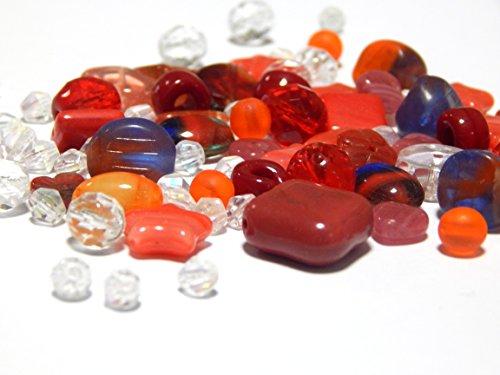 50g Boehmisches Glasperlen Rot Mix PRECIOSA TSCHECHISCHE Kristall Perlen Set, Basteln Schmuck set 8mm - 15mm R225 -