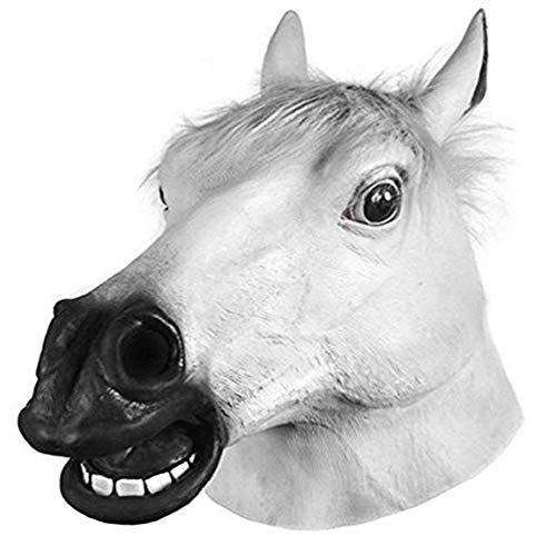 CDW Halloween-Maske Pferdekopf Maske Neuheit Halloween Kostüm Party Maske Lustige Latex Tier Kopf Maske,White